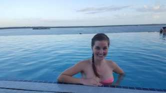 Soaking in the rooftop pool of our hotel in Bimini, Bahamas