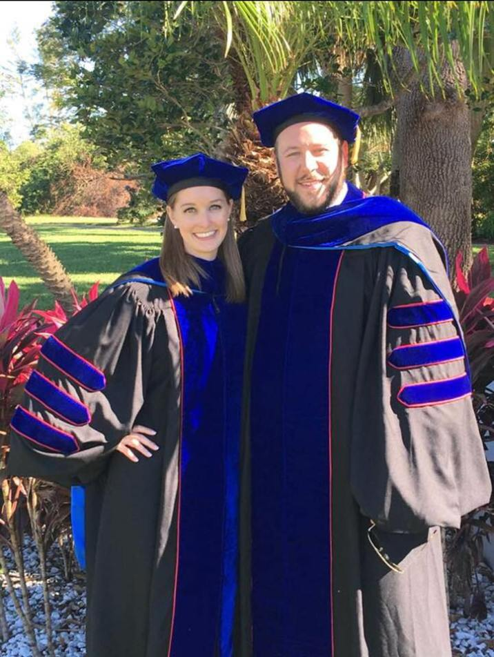 Posing in our Doctoral Regalia on the day of our Ph.D. graduation.