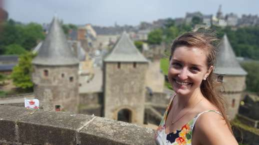 At the top of Fougeres Castle in France.