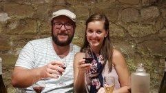 Andrew and me at a wine tasting in Paris, France.
